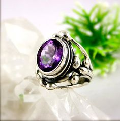 Amethyst Ring Sterling Silver Jewelry Purple Gemstone