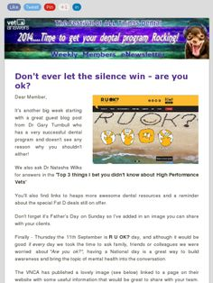Don't ever let the silence win - are you ok?  Vetanswers Weekly Member's eNewsletter 5.09.2014