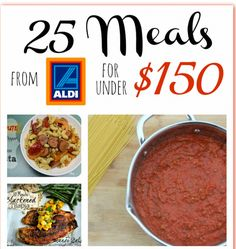 Aldi Monthly Menu Plan 25 Meals for Under $150.00