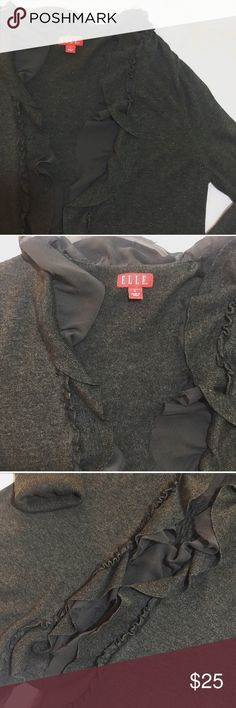 """ELLE Gray Ruffle Open Cardigan ELLE 