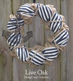 Nautical Burlap Wreath  Navy Wreath by LiveOakDandC on Etsy