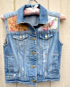 Upcycled Denim Vest, Sleeveless Jean Jacket, Women's Girl's Clothing, Shabby Cottage Chic Vintage Floral Fabric, Tattered Grunge Cowgirl
