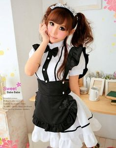 Introducing Moe cosplay maid apron headband with a cute black white  Uniform Costume. Get Your Ladies Products Here and follow us for more updates!