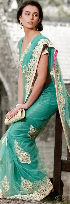 $188.58 Sea Green Net and Shimmer Latest Fashion Saree 16769 With Unstitched Blouse
