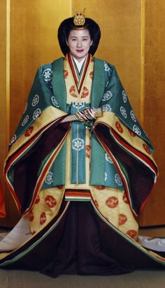 Japanese royal family. Crown Princess Masako of Japan in ceremonial dress.