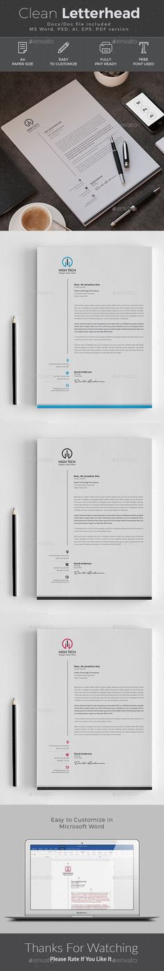 #Letterhead - Stationery Print #Templates Download here: https://graphicriver.net/item/letterhead/19381017?ref=alena994