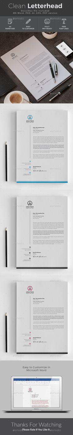 #Letterhead - Stationery Print #Templates Download here: https://graphicriver.net/item/letterhead/19381017?ref=alena994