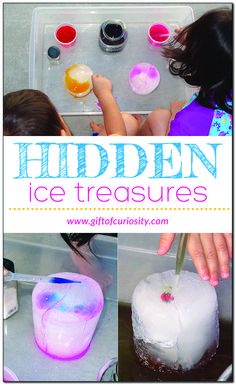 Ice activities - freeze small objects in a large block of ice and give kids colored water and salt to melt the block and find their treasures. Fine Motor Activities For Kids, Creative Activities For Kids, Summer Activities, Toddler Activities, Learning Activities, Crafts For Kids, Preschool Ideas, Outdoor Activities, Elementary Science Classroom