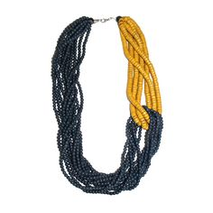 Beaded Necklace Blue Yellow