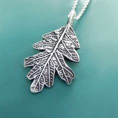 Oak Leaf Necklace  Sterling Silver by esdesigns on Etsy