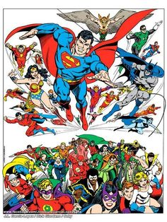 The Justice League of America & The Justice Society by Jose Luis Garcia-Lopez. Comic Book Artists, Comic Books Art, Comic Art, Dc Comics Art, Marvel Dc Comics, Justice League, Garcia Lopez, Legion Of Superheroes, Comic Pictures