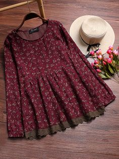 Vintage Floral Printed Stitching Lace Shirts for Women - Newchic Mobile Source by de moda Stylish Dresses For Girls, Stylish Dress Designs, Designs For Dresses, Dresses Kids Girl, Casual Dresses, Casual Outfits, Frock Design, Frock Fashion, Fashion Dresses