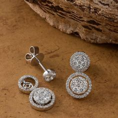 Stand out this winter in shimmering diamond multi-look earrings.