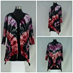 Size XL tie dye tunic top with shark bite hemline, vee neck and 3/4 sleeves, in hues of pomegranate, watermelon, and black. by qualicumclothworks on Etsy