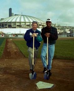 Ken Griffey Jr & Dave Niehaus at home plate of the yet to be built Safeco Field