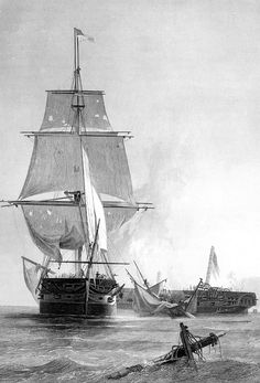War of 1812, the American frigate Constitution defeats the British warship Guerriere, August 19, 1812