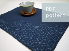 modern embroidery PDF sashiko pattern - - stacking cubes - -