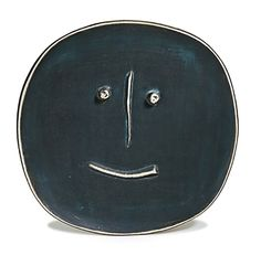 """dynamitefists: M. Pablo Picasso. Patinated Face, 1959, Plate of white earthenware clay, engobe and patina decoration with scraped relief #61 of 100 made in Madoura Inscribed """"K. 110/61/100"""" verso; stamped """"Madoura Plein Feu"""" and """"Empreinte Originale de Picasso"""" verso."""