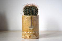 Little succulent or cacti pot in shiny oatmeal glaze. £20,00, via Etsy.