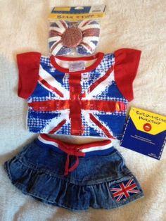 BNWT Build A Bear Union Jack Outfit ** Spare Hello Kitty Velcro Bow**