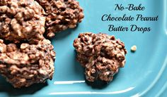 """The perfect summer recipe: These cool """"no oven"""" required peanut butter crops are ready in ten minutes flat. Vegan Recipes Easy, Baking Recipes, Cookie Recipes, Dessert Recipes, Bar Recipes, Yummy Recipes, Free Recipes, Chocolate No Bake Cookies, Chocolate Peanut Butter"""