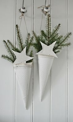 Paper cones with greenery.
