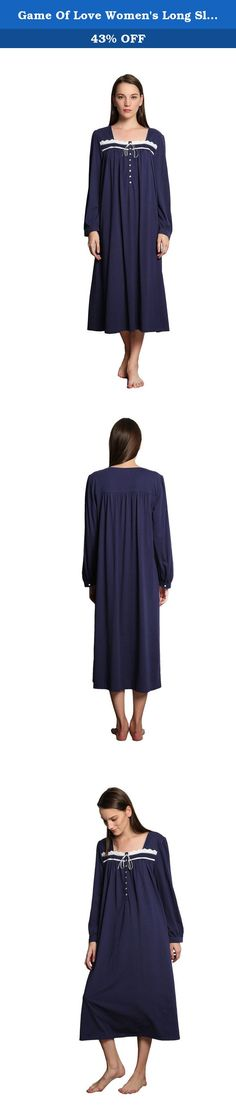 Game Of Love Women's Long Sleeve Nightgown Sleepwear S-XL, Navy Blue. A very pretty and elegant cotton nightgown with pretty embroidery and ruffled hem. Features15 Button closure, Square Neck, detailed with lace, Ruffle Hem and Flattering pin tuck detail for an extra feminine touch. A cotton nightgown is very good choice fo.