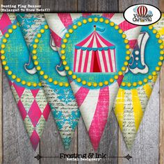 Carnival Party - Circus Party - Invitation & Wrap Around Address Labels - Pink Blue Yellow - Customized Printable (Girl, Vintage, Big Top). $20.00, via Etsy.