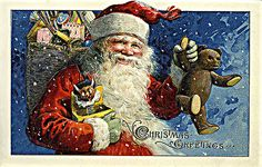 Old Time Santa Claus Painting | Vintage Victorian Christmas Greeting Card Santa with Toys Teddy Bear