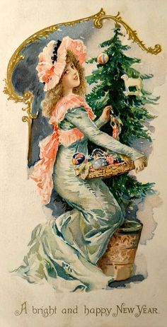 A bright and happy New Year ~ Vintage postcard