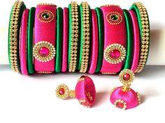 Silk Thread Indian Bangles Set of 14 with Jhumka Earrings for Silk Thread Bangles Design, Thread Jewellery, Bridal Necklace Set, Bangle Set, Indian Bangles, Jewelry Making, Unique Jewelry, Handmade Gifts, Lehenga