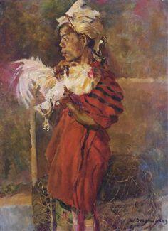 Willem Dooijewaard - Balinese man met zijn vechthaan