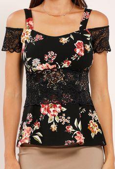 Lace Applique Floral Open-Shoulder Top Lace Tops, Floral Tops, Papaya Clothing, Blouse Dress, Lace Applique, Fashion Outfits, Womens Fashion, Designer Dresses, Latest Trends