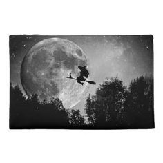 Halloween Black and White Witch Travel Accessory Bag