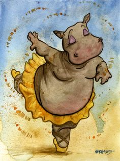 "Hyacinth Hippo, the prima ballerina from the ""Dance of the Hours"" sequence of Disney's Fantasia. Painted at A-Kon, in-between commissions and panels. (Original for Sale) WatercolorJoJo Seames, 2013"