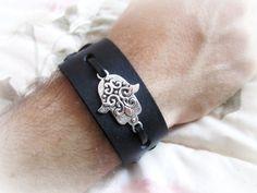 Mens hamsa bracelet mens leather cuff bracelet by Bravemenjewelry