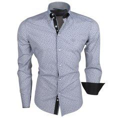 63fa8c611cb804 Ferlucci - Italienisch Herren Hemd mit Trendy Design - Weiß Schwarz | für  Herren | Moda Italia Trendy Online Fashion