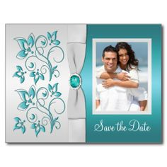 Aqua-marine and Silver Floral Photo Save the Date Post Card