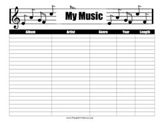 A music staff with treble clef notes decorates this printable music inventory that lists albums, artists and genres. Free to download and print