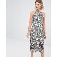 Keepsake Love Lace Midi Dress (£162) ❤ liked on Polyvore featuring dresses, black, midi dress, lacy dress, high neck lace dress, zipper dress and lined dress