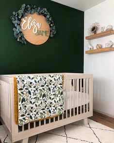 round name sign Beautiful green accent wall in a dreamy nursery!Beautiful green accent wall in a dreamy nursery! Baby Bedroom, Baby Room Decor, Nursery Room, Nursery Decor, Budget Nursery, Babies Nursery, Baby Gurl Nursery, Diy Nursery Painting, Painting For Baby Room