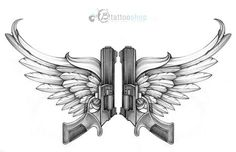 Guns With Wings Custom Tattoo Illustration By Sunny At B Shop