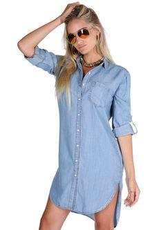 Vixen Chambray Mini Dress in Blue   Necessary Clothing