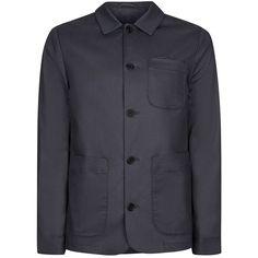 TOPMAN Navy Smart Worker Jacket (£50) ❤ liked on Polyvore featuring men's fashion, men's clothing, men's outerwear, men's jackets, blue, mens navy jacket, mens blue jacket, mens navy blue jacket and mens cotton jacket