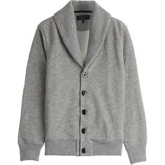 Rag & Bone Jersey Cardigan (1,480 SAR) ❤ liked on Polyvore featuring men's fashion, men's clothing, men's sweaters and grey