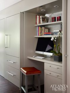 hidden desk area for printer and office supplies Kitchen Office Spaces, Kitchen Desk Areas, Kitchen Desks, Home Office Closet, Home Office Space, Home Office Design, Home Office Decor, Hidden Desk, Hidden Kitchen