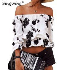 Women Slash Neck Short Blouse Shirts Printed strapless off-the-shoulder blouse Casual Summer Female Shirts  #fashionaddict #copic #fashionphotography #friends #moda #igers #loveit #fashion #fashionshow #style