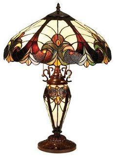 Velvety Iris Victorian Tiffany Table Lamp