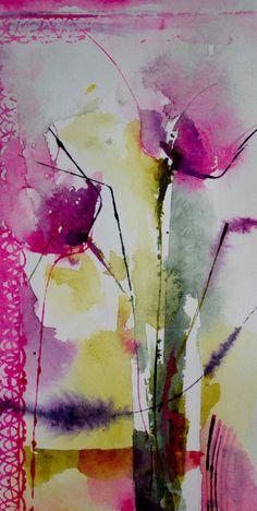 Petit instant N° 311 (Peinture),  20x10 cm par Véronique Piaser-Moyen Aquarelle originale sur papier 300G