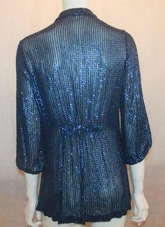 Diane Von Furstenberg Blue Sequin Loose Blouse - 6 4